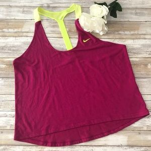 ‼️Nike Dry Fit Fuchsia T Back Tank Top Size Large